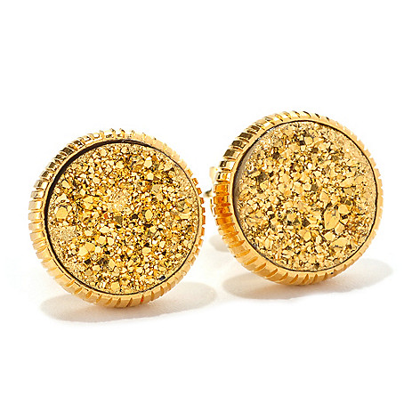 128-571 - Dallas Prince 12mm Round Drusy Textured Stud Earrings