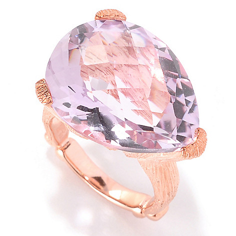 128-576 - Dallas Prince 17.00ctw Pear Shaped Pink Amethyst Ring
