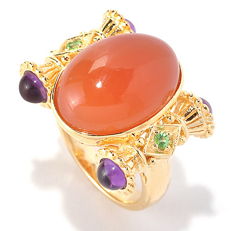 128-577 - Dallas Prince Designs 17 x 12mm Oval Peach Moonstone, Tsavorite & Amethyst Ring