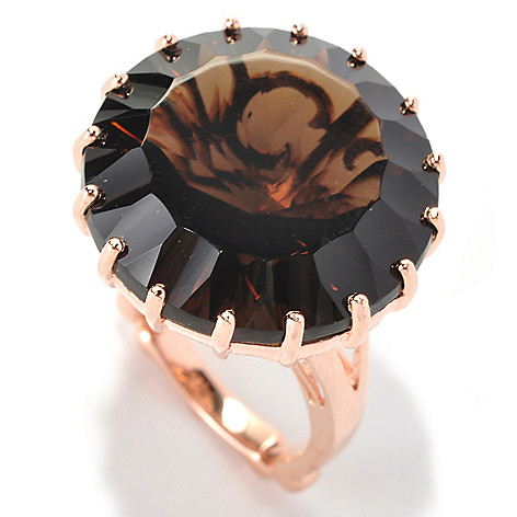 128-578 - Dallas Prince Designs 21.90ctw Round Smoky Quartz Regal Ring