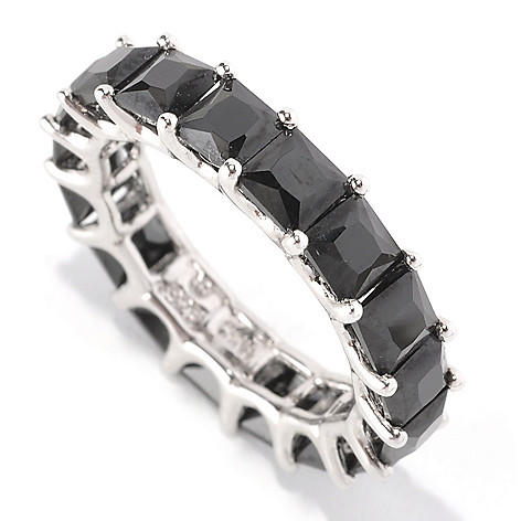 128-585 - Brilliante® Platinum Embraced™ 6.63 DEW Black Simulated Diamond Eternity Ring