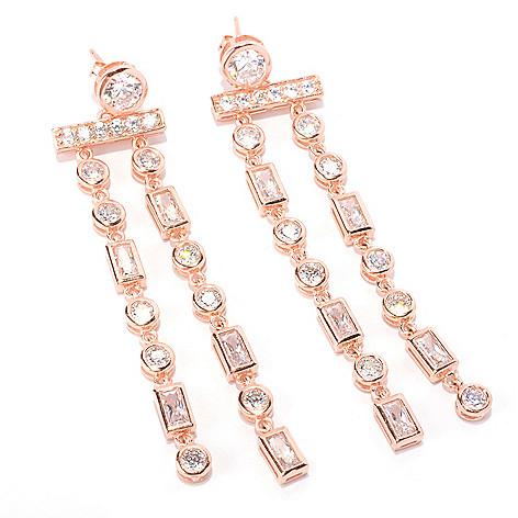 128-587 - Sonia Bitton 5.06 DEW Bezel Set Two-strand Simulated Diamond Drop Earrings