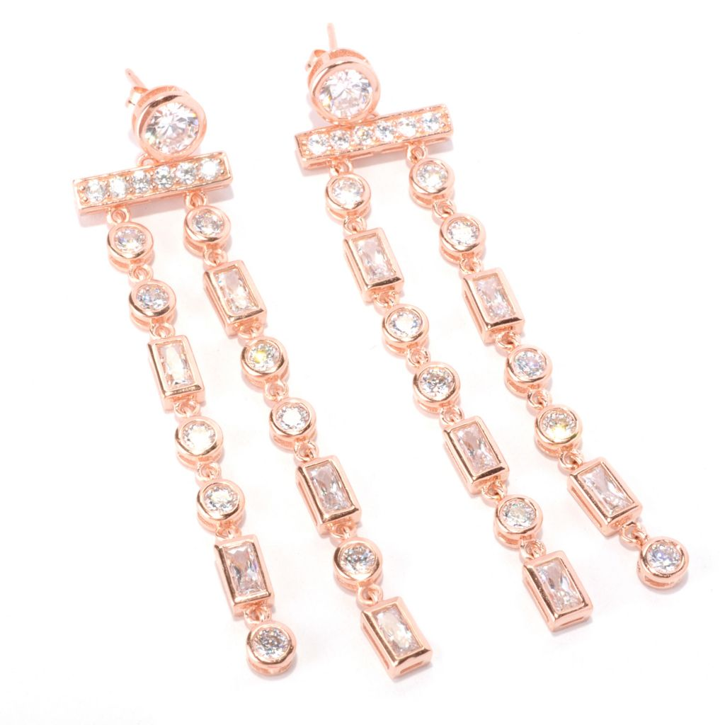 128-587 - Sonia Bitton 5.06 DEW Bezel Set Two-strand Simulated Diamond Drop Earrings