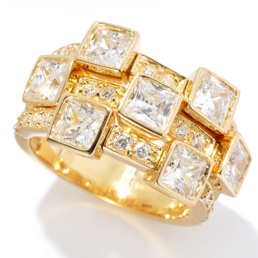 128-593 - Sonia Bitton 3.15 DEW Three-Row Square & Round Cut Simulated Diamond Dream Fit™ Ring