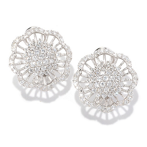 128-615 - Sonia Bitton Platinum Embraced™ 3.03 DEW Pave Set Simulated Diamond Flower Earrings