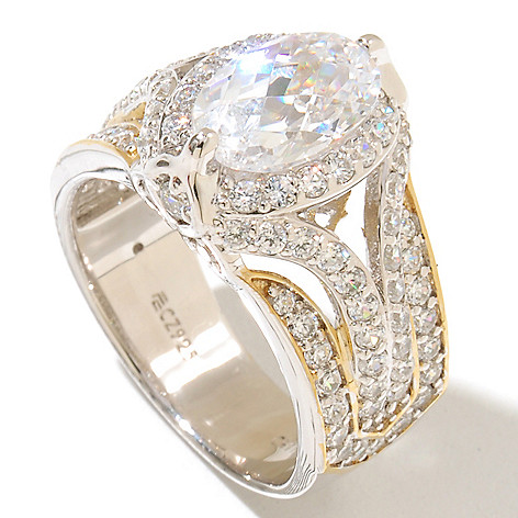 128-618 - RITANI™ Two-tone 3.35 DEW Oval & Round Cut Simulated Diamond Split Shank Ring