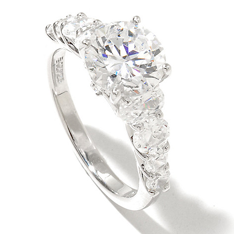 128-620 - RITANI™ Platinum Embraced™ 3.16 DEW Round Cut Simulated Diamond Graduated Ring