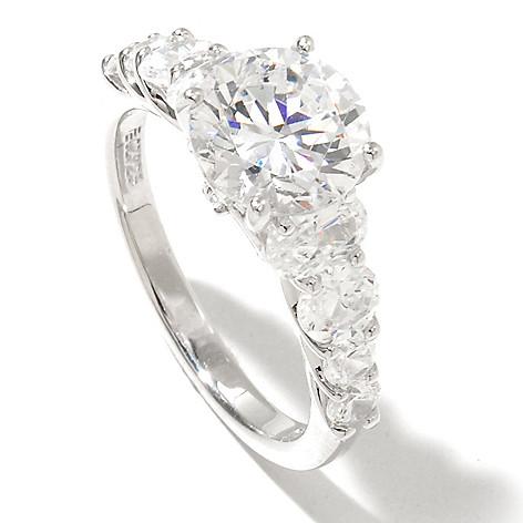128-620 - RITANI™ Platinum Embraced™ 3.16 DEW Round Cut Simulated Diamond Graduated Ring