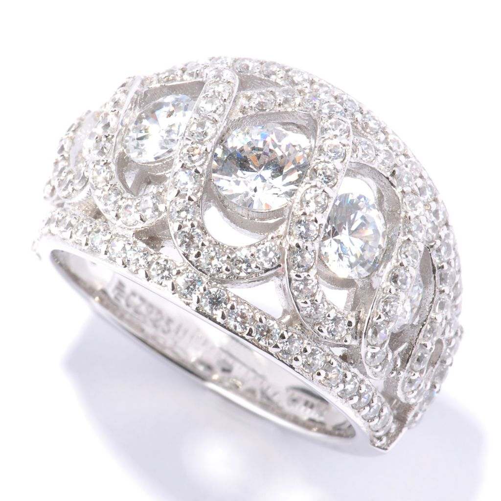 128-622 - RITANI™ Platinum Embraced™ 2.45 DEW Graduated Simulated Diamond Anadare Dome Ring