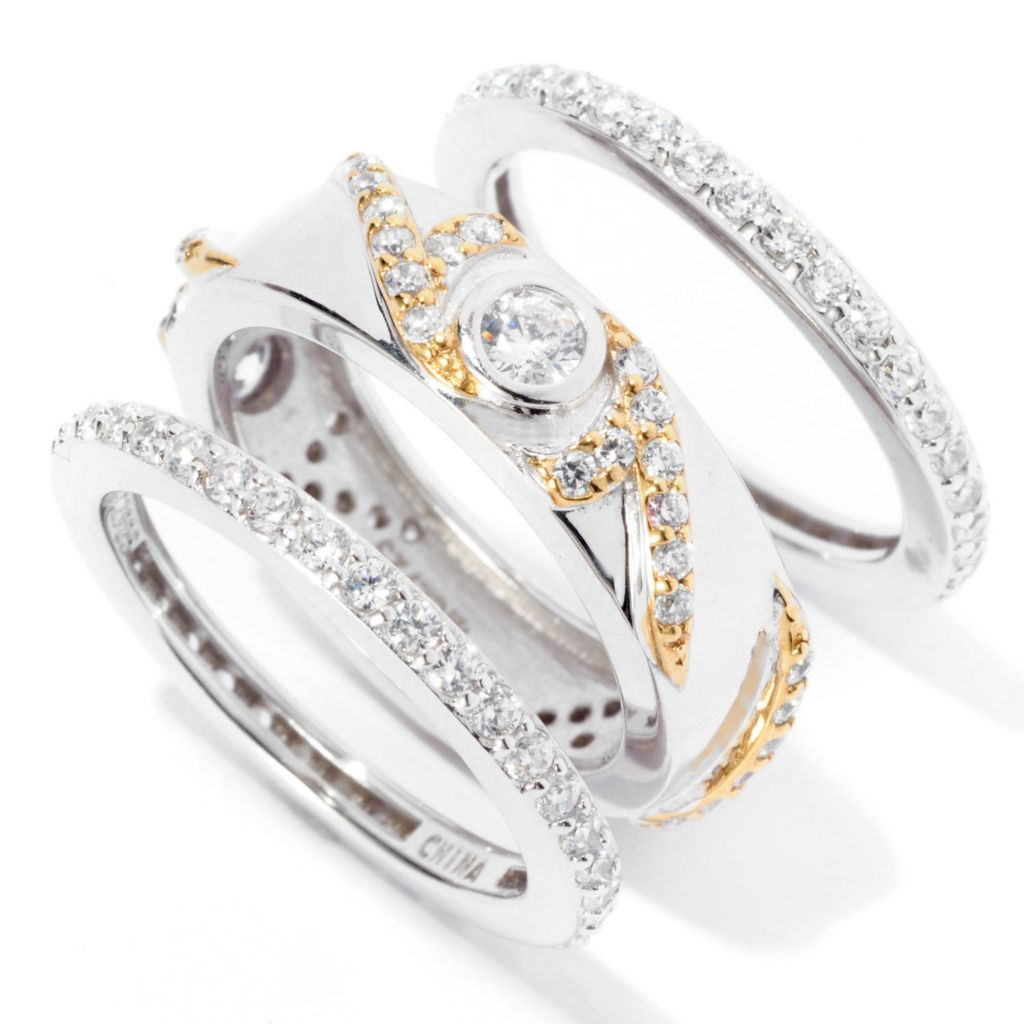 128-624 - RITANI™ Two-tone 1.92 DEW Bezel & Pave Simulated Diamond Three-Ring Set