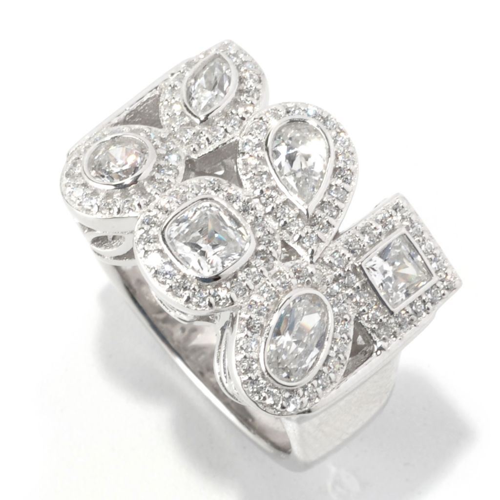 128-625 - RITANI™ 2.22 DEW Multi Shape Bezel Set Simulated Diamond Halo Ring