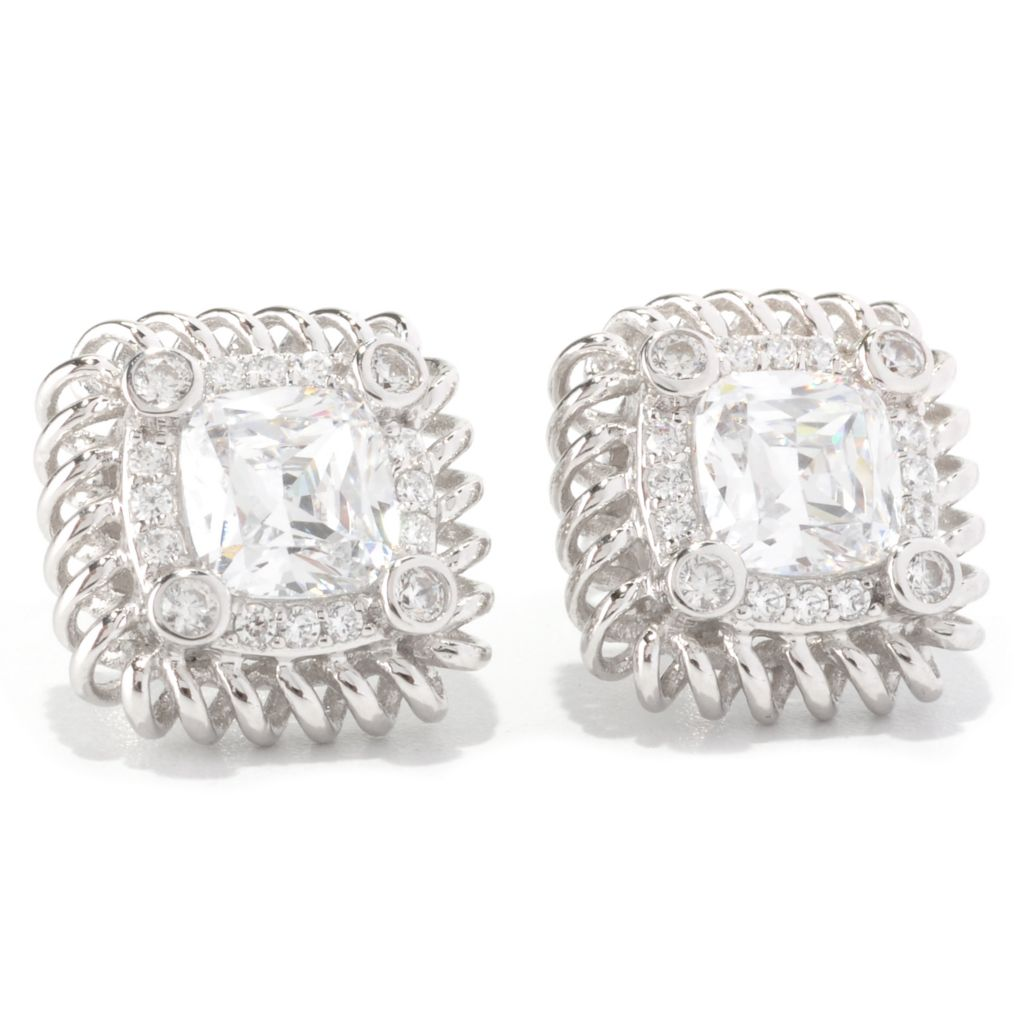128-631 - RITANItrade; Platinum Embraced™ 3.58 DEW Anadare Simulated Diamond Halo Stud Earrings