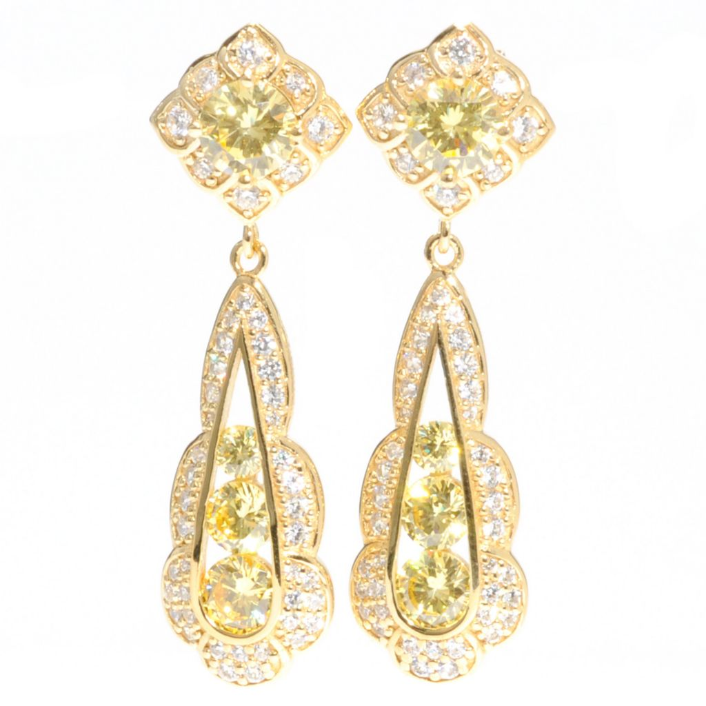 "128-632 - RITANI™ 1.5"" Gold Embraced™ 4.76 DEW Canary & White Simulated Diamond Drop Earrings"