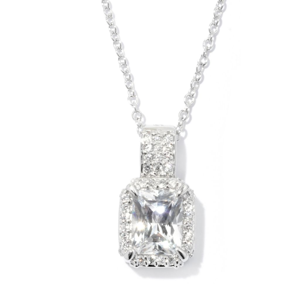 128-638 - RITANI™ Platinum Embraced™ 3.22 DEW Simulated Diamond Halo Pendant
