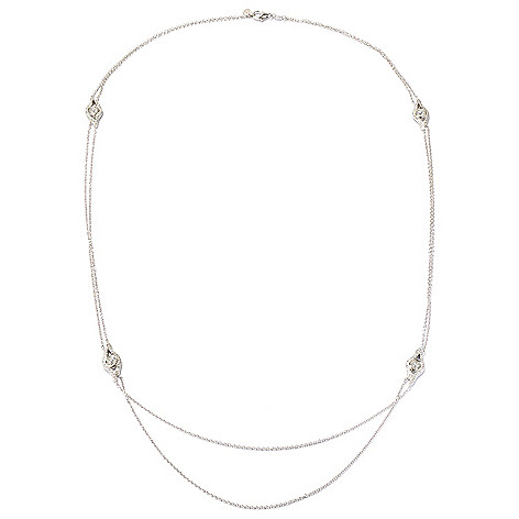 128-639 - RITANI™ Platinum Embraced™ 29'' 3.95 DEW Simulated Diamond Station Necklace
