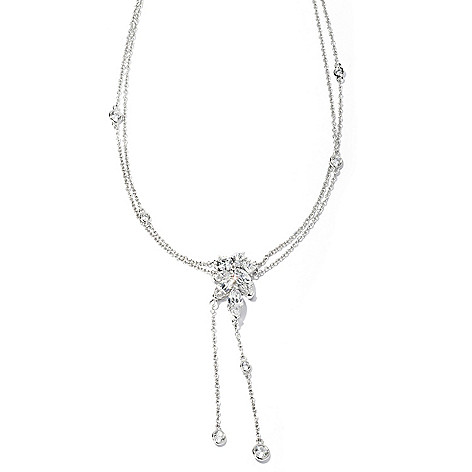 128-641 - RITANI&trade Platinum Embraced™ 18'' 4.66 DEW Simulated Diamond Cluster Drop Necklace