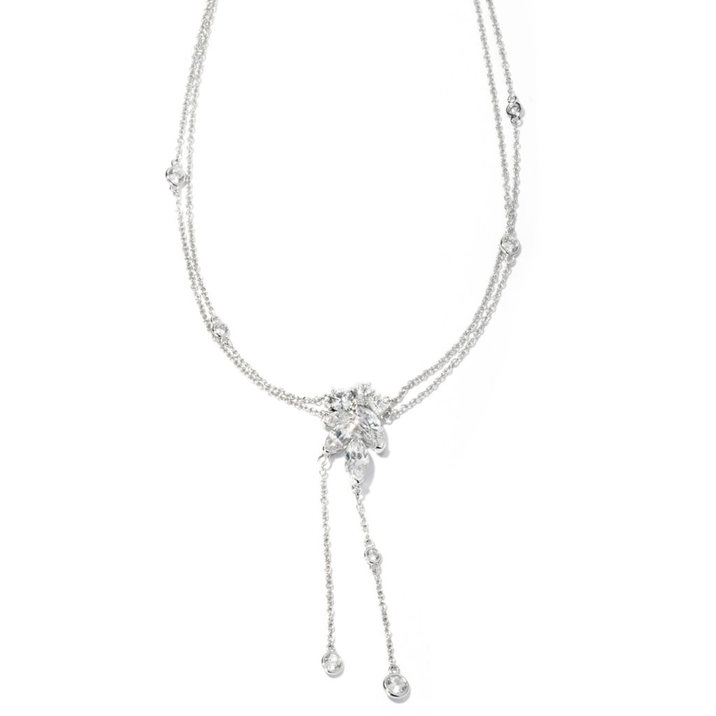 "128-641 - RITANI&trade Platinum Embraced™ 18"" 4.66 DEW Simulated Diamond Cluster Drop Necklace"