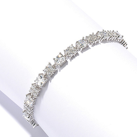 128-642 - RITANI™ Platinum Embraced™ Round Cut Cluster Simulated Diamond Link Line Bracelet