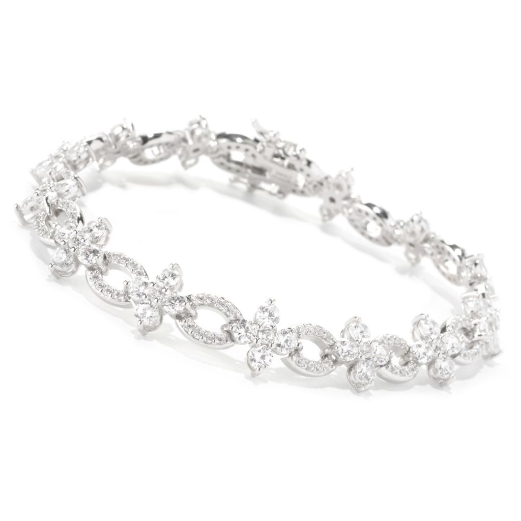 128-643 - RITANI™ Platinum Embraced™ Round Cut Simulated Diamond Link Bracelet