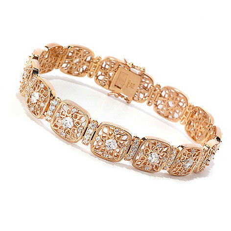 128-644 - RITANI™ Gold Embraced™ Round Cut Simulated Diamond Line Bracelet