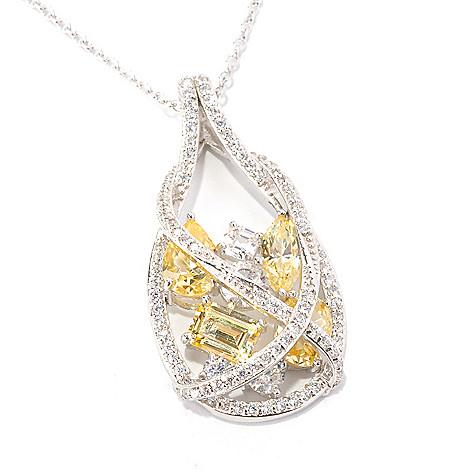 128-646 - RITANI™ Platinum Embraced™ 6.49 DEW Multi Cut Simulated Diamond Teardrop Pendant