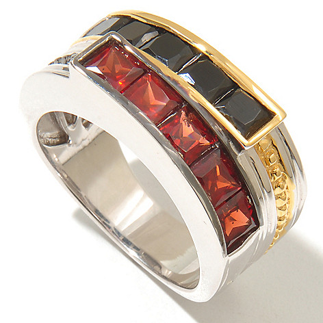 128-651 - Men's en Vogue II 3.95ctw Garnet & Black Spinel Duo Band Ring