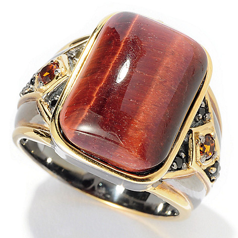 128-653 - Men's en Vogue 18 x 13mm Tiger Eye, Madeira Citrine & Black Spinel Ring