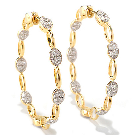 128-664 - Sonia Bitton 2.04 DEW Round Cut Simulated Diamond Oval Shaped Link Hoop Earrings