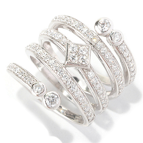 128-665 - Sonia Bitton Platinum Embraced™ 1.48 DEW Swirl Simulated Diamond Dream Fit™ Ring