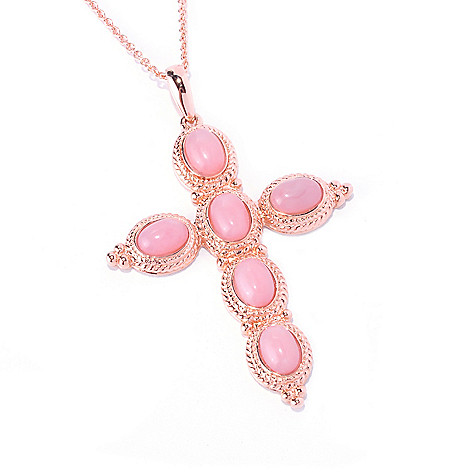 128-672 - NYC II 7 x 5mm Pink Opal Cross Pendant w/ 18'' Chain