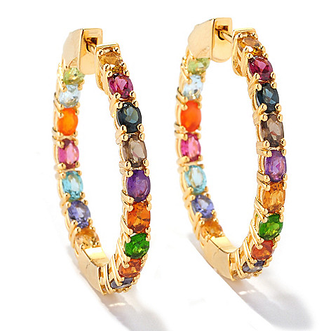 128-673 - NYC II 5.96ctw Multi Gemstone Inside-Out Hoop Earrings