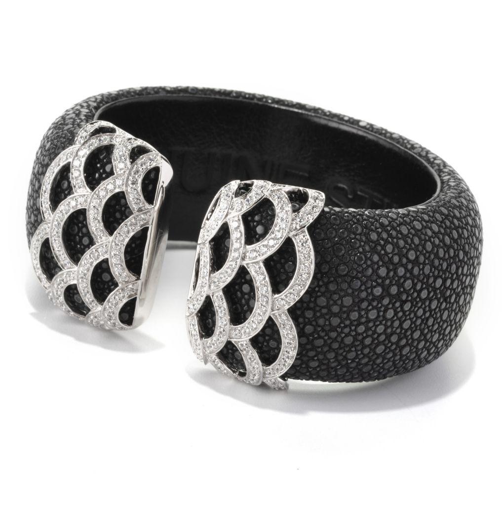 128-677 - Neda Behnam Platinum Embraced™ 4.18 DEW Simulated Diamond Stingray Cuff Bracelet