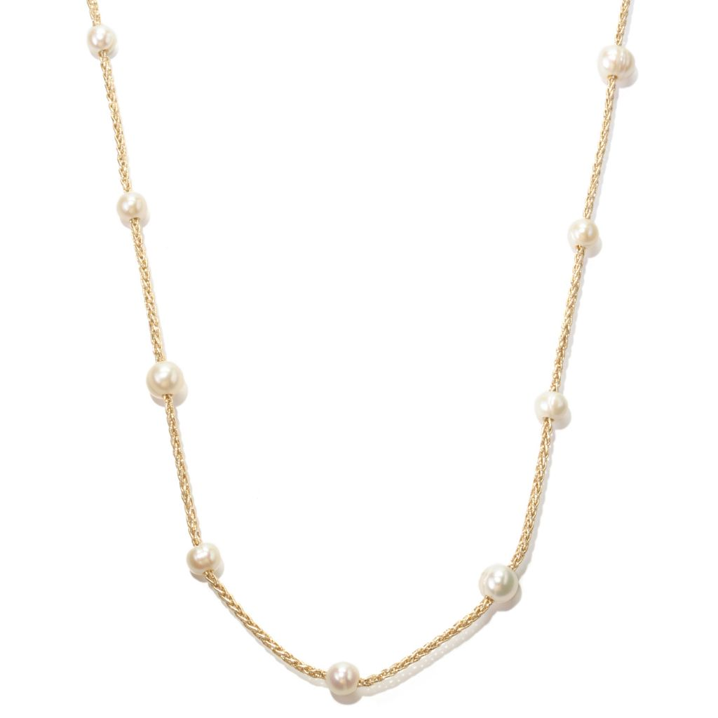 "128-687 - 64"" 8-10mm White Freshwater Cultured Pearl Endless Woven Cord Necklace"