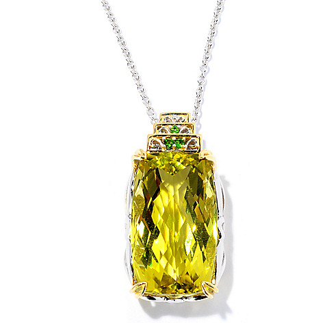 128-694 - Gems en Vogue 30.10ctw Ouro Verde & Chrome Diopside Pendant w/ Chain