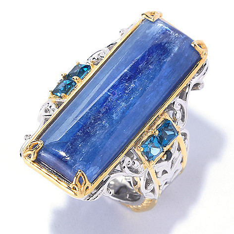 128-697 - Gems en Vogue 30 x 10mm Kyanite, London Blue Topaz & Sapphire Elongated Ring