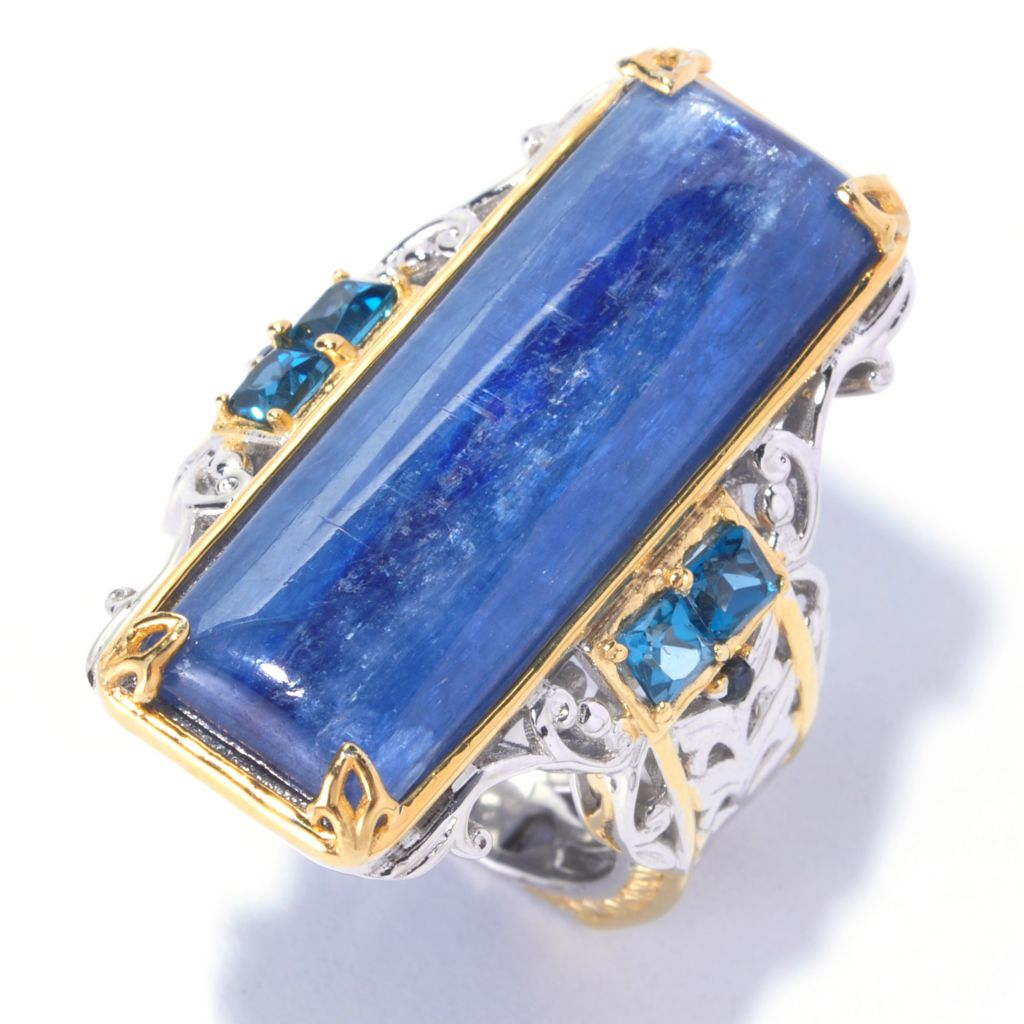 128-697 - Gems en Vogue II 30 x 10mm Kyanite, London Blue Topaz & Sapphire Elongated Ring