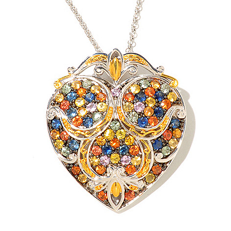128-703 - Gems en Vogue 5.76ctw Multi Sapphire Heart Enhancer Pendant w/ Chain