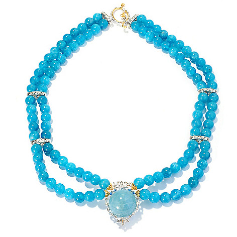 128-704 - Gems en Vogue II 20mm Aquamarine Beaded Double Strand Necklace