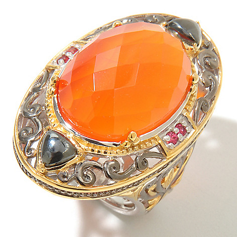 128-705 - Gems en Vogue II Checkerboard-Cut Carnelian w/ Orange Sapphire Ring