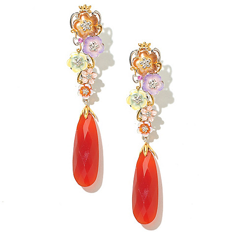 128-707 - Gems en Vogue II 30 x 10mm Carnelian & Multi Flower Elongated Earrings