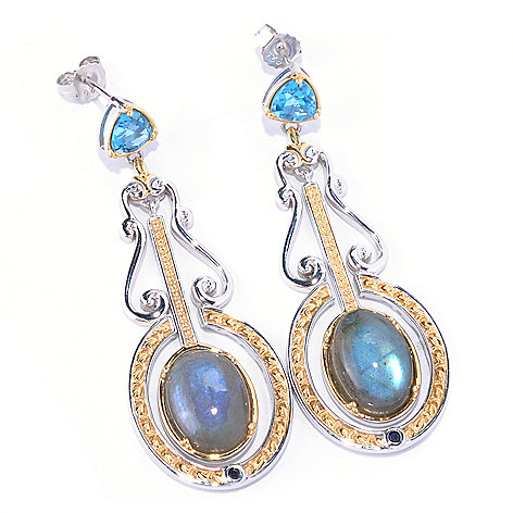 128-709 - Gems en Vogue II 14 x 10mm Labradorite & Multi Gemstone Drop Earrings