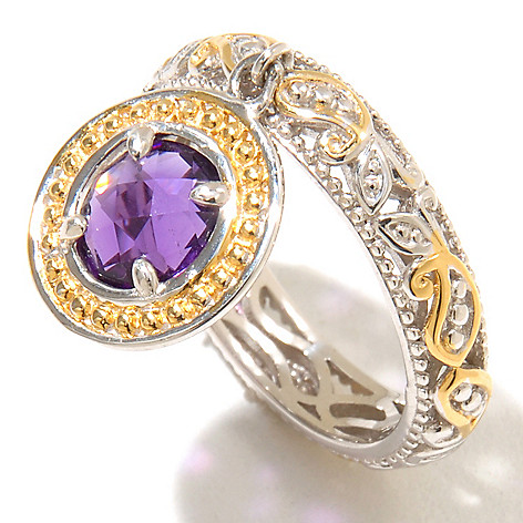 128-713 - Gems en Vogue II 1.05ctw Amethyst Charm Band Ring