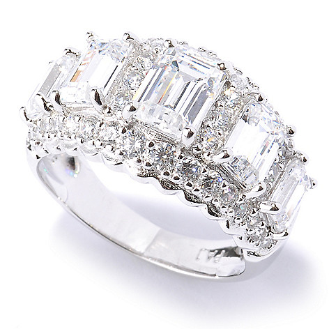 128-736 - Brilliante® Platinum Embraced™ 3.67 DEW Graduated Simulated Diamond Five-Stone Ring