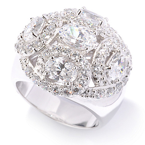 128-737 - Charlie Lapson® Platinum Embraced™ 3.70 DEW Simulated Diamond Dome Ring