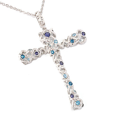 128-743 - Michelle Albala Multi Gemstone Brushed Cross Pendant w/ 20'' Chain