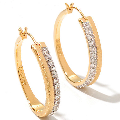 128-746 - Michelle Albala 1'' White Sapphire Brushed Hoop Earrings