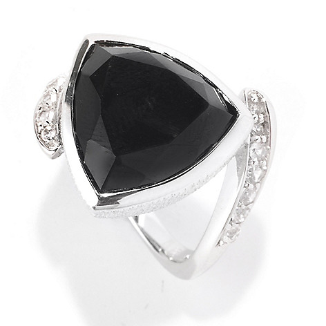 128-747 - Michelle Albala 14mm Spinel Trillion & White Sapphire Brushed Ring