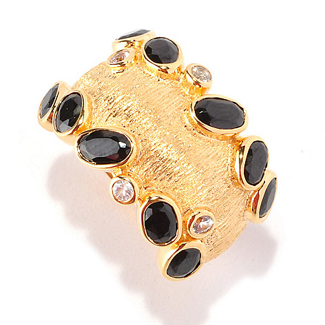 128-749 - Michelle Albala Black Spinel & White Sapphire Scattered Edge Ring