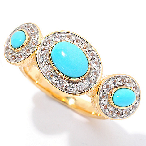 128-750 - Michelle Albala 7 x 5mm Sleeping Beauty Turquoise & White Sapphire Tilted Trio Ring