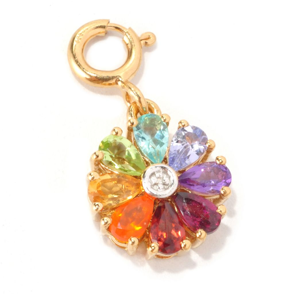 128-768 - NYC II 1.40ctw Multi Gemstone & Diamond Rainbow Flower Drop Charm
